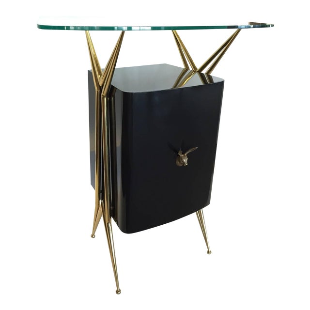 Italian Modernist Dry Bar with Floating Glass Top and Brass Accents - Image 1 of 6