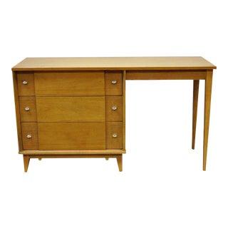 Vintage Paul McCobb Era Mid-Century Modern Blonde Teak & Walnut Writing Desk
