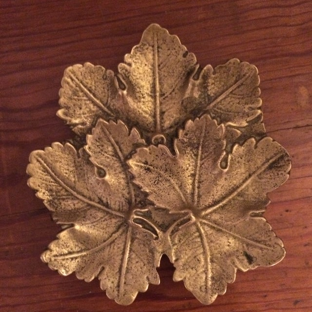 Solid Brass Maple Leaf Dish - Image 2 of 5