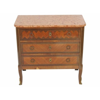 Louis XV Style Inlaid Marbletop Commode
