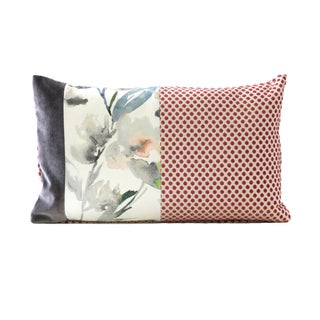 Designer Coral and Gray Down Pillow