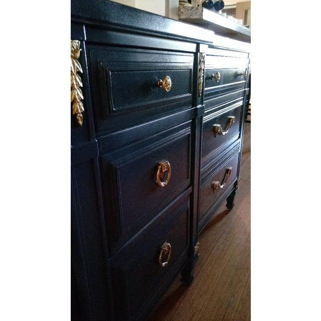 Drexel San Remo High Gloss Blue Nine Drawer Dresser Credenza - Image 4 of 7