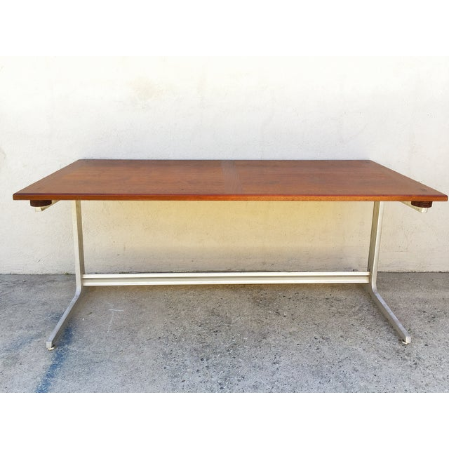 Mid-Century Industrial Metal & Walnut Desk - Image 2 of 11
