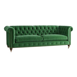 Anthropologie Velvet Green Chesterfield Sofa