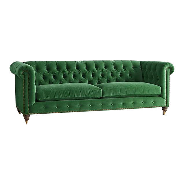 anthropologie velvet green chesterfield sofa chairish. Black Bedroom Furniture Sets. Home Design Ideas