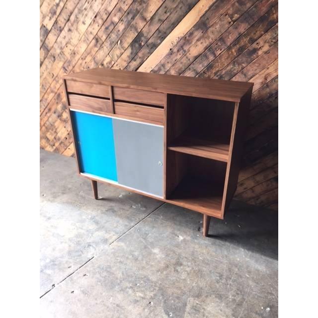 Mid-Century Style Custom Walnut Cabinet - Image 4 of 7