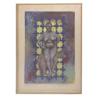 Elizabeth Ennis Woman & Bear Mixed Media Artwork