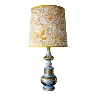 Vintage Reverse-Painted Lamp & Custom Shade