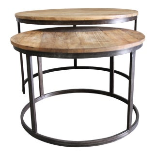 Wooden Nesting Coffee Tables - Set of 2