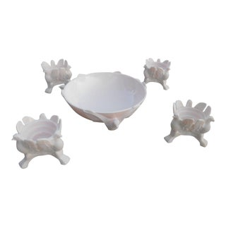 Pink Milk Glass Pheasant Bowl & Candle Holders - Set of 5