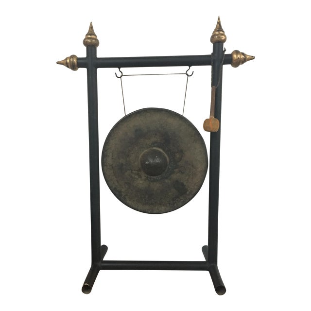 Vintage Chinese Bronze Gong Stand & Mallet - Image 1 of 10