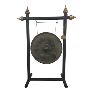 Vintage Chinese Bronze Gong Stand & Mallet