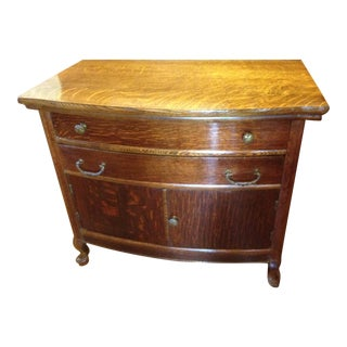 1910 Tiger Oak Dresser With a Carved Quilt Hanger Stand