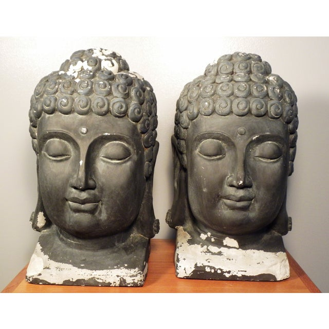 Large Matching Buddha Heads - A Pair - Image 6 of 6