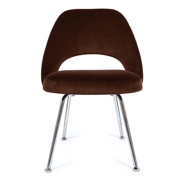 Saarinen Executive Armless Chairs in Espresso Brown Velvet, Set of Six - Image 3 of 4
