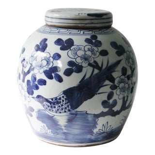 Blue & White Porcelain Chinoiserie Bird Jar