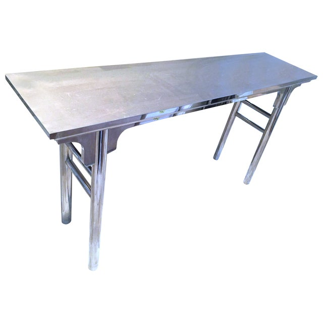 Image of HD Buttercup Polished Chrome Console Table