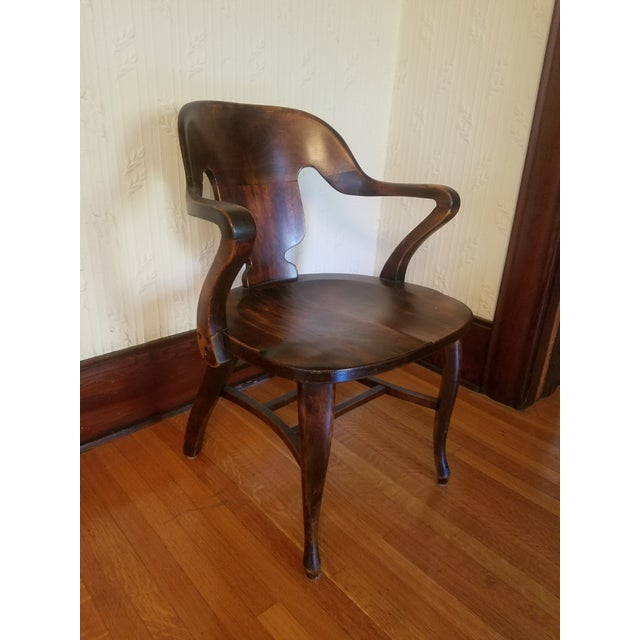 Vintage Restored Wooden Office Chair - Image 2 of 9