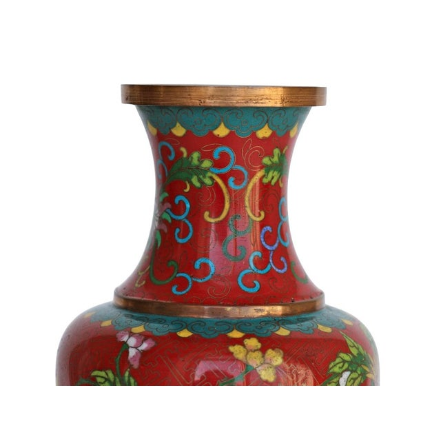 Large Red Cloisonne Vase - Image 2 of 5