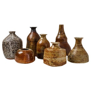 Franco Agnese Set of Seven Ceramic Earth Tone Vases, France, 1960s