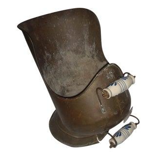 Old Dutch Copper & Ceramic Coal Scuttle Delft Handles