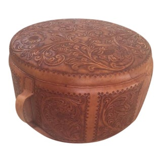 Vintage Peruvian Hand Tooled Leather Pouf