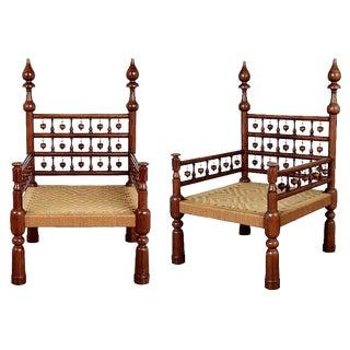 Pair of Moroccan Teak Rush Seat Throne Armchairs, circa 1960