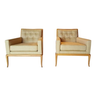 Pair of T.H. Robsjohn-Gibbings Lounge Chairs with Ottoman