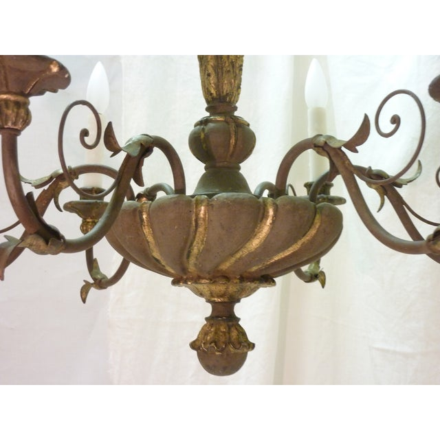 Image of Italian Painted Iron & Wood Chandelier