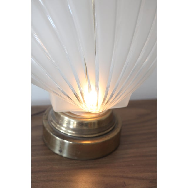 Frosted Glass Clam Shell Lamp With Brass Base - Image 4 of 6