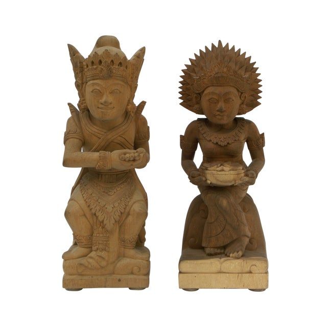 Hand-Carved Wood Balinese Statues - A Pair - Image 1 of 5