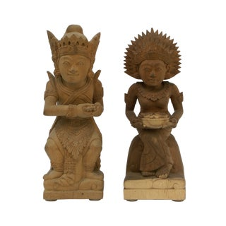 Hand-Carved Wood Balinese Statues - A Pair