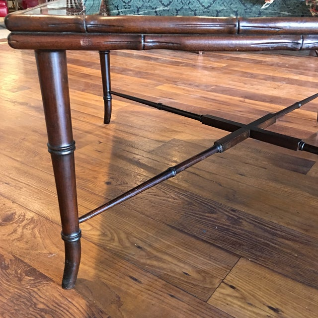 Mid-Century Regency Faux Bamboo Marbled Table - Image 8 of 8