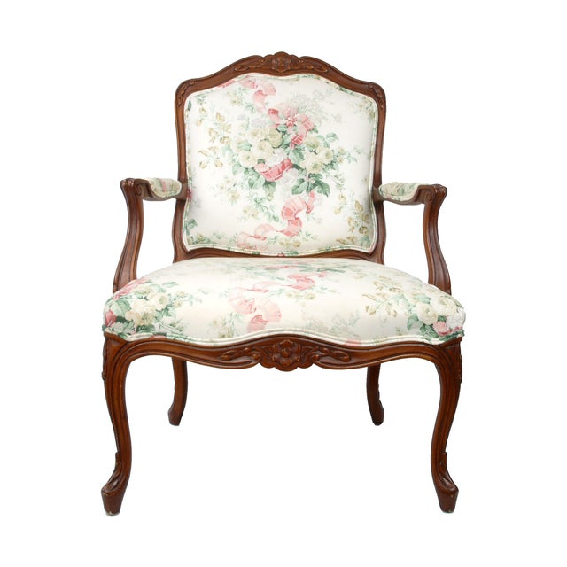 Image of Hollywood Regency-Style Wood Arm Chair