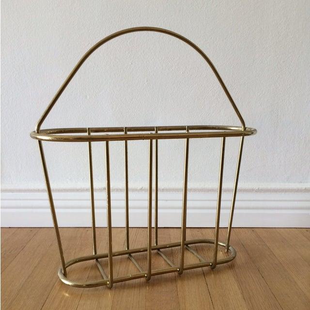 Image of Mid-Century Modern Brass Magazine Rack