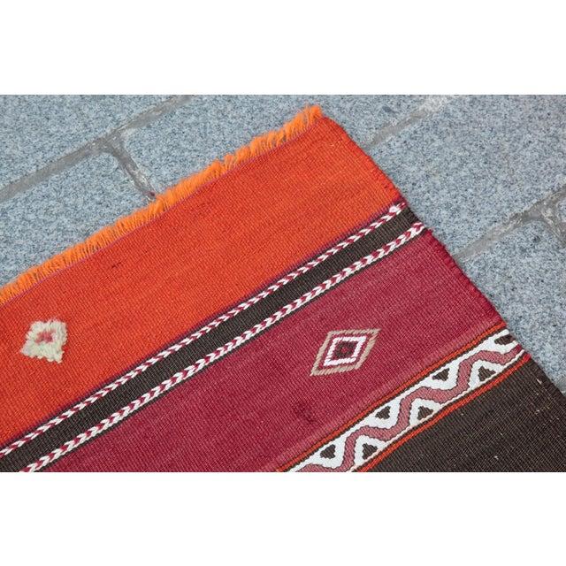 Orange Stripe Design Kilim Rug - 4' 3'' X 2' 6'' - Image 6 of 11