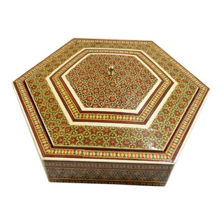 Vintage Persian Mosaic Inlay Wood Octagon Box