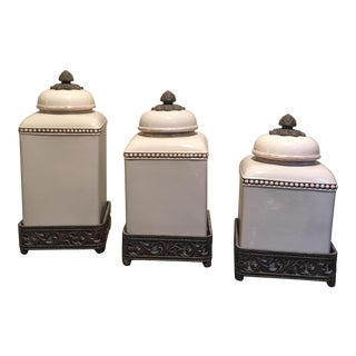 Transitional Cream & Bronze Canisters - Set of 3