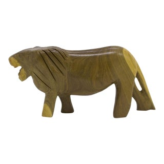 Hand Carved Wooden African Lion Figurine