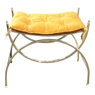 Gold Metal & Orange Velvet Savonarola Stool