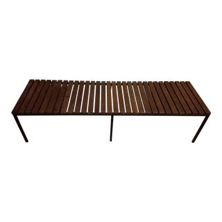 Mid-Century Wood & Metal Slat Coffee Table