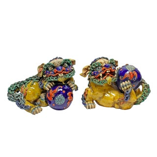 Vintage Ceramic Foo Dogs - A Pair