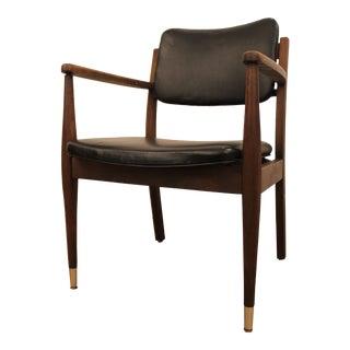 Mid-Century Danish Modern Walnut Open Arm Lounge Chair