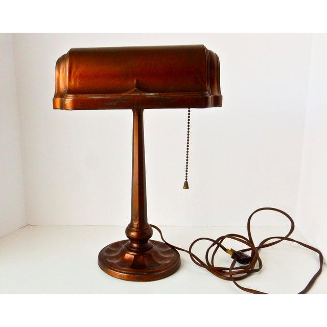 Image of Antique Bronzed Cast Iron & Metal Desk Lamp