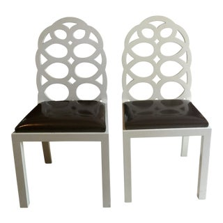 White 8 Loop Back Chairs - A Pair
