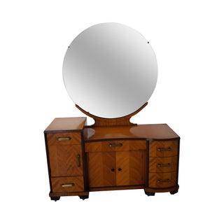 Vintage Art Deco Satin Wood Vanity With Mirror