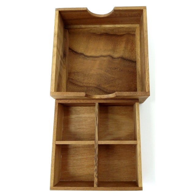 Image of Handmade Sectioned Wood Box with Lid