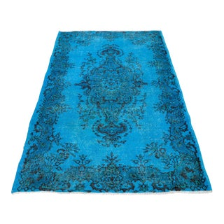 """Turkish Blue Overdyed Hand Knotted Rug - 3'6"""" X 6'7"""""""