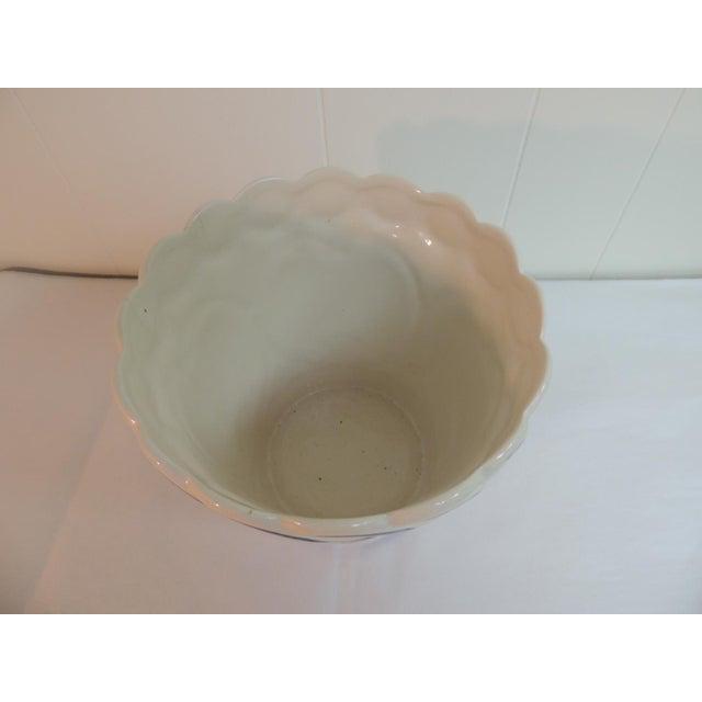 Vintage Blue & White Hand-Painted Ceramic Planter - Image 5 of 6