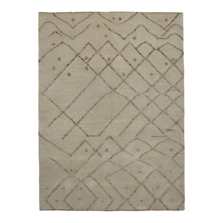 Moroccan Rug with Minimalist Style and High Low Pile